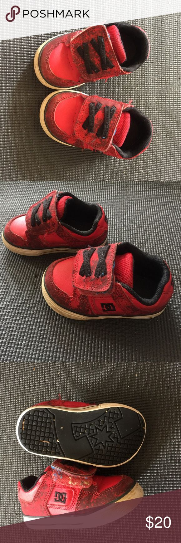 Toddler Boys DC Skate Shoes Velcro Red 6 Toddler red DC shoes size 6. Good condition. Boys grow out of them fast! DC Shoes Sneakers
