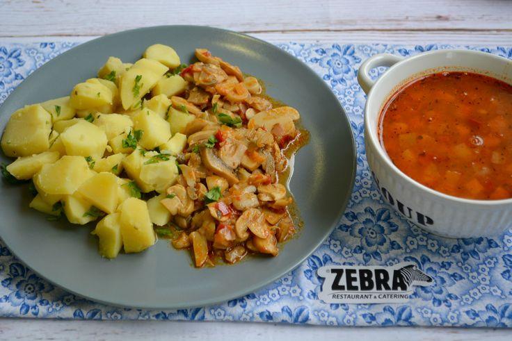 Supa de fasole boabe (400 ml) Sote de ciuperci cu cartofi natur (120/250 g)