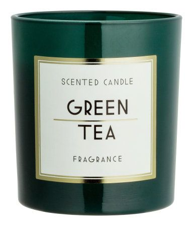 Scented Candle in Glass Holder | Dark green/Green Tea | Home | H&M US