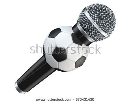 Microphone with football, soccer ball. 3D render, isolated on white background with shadow.