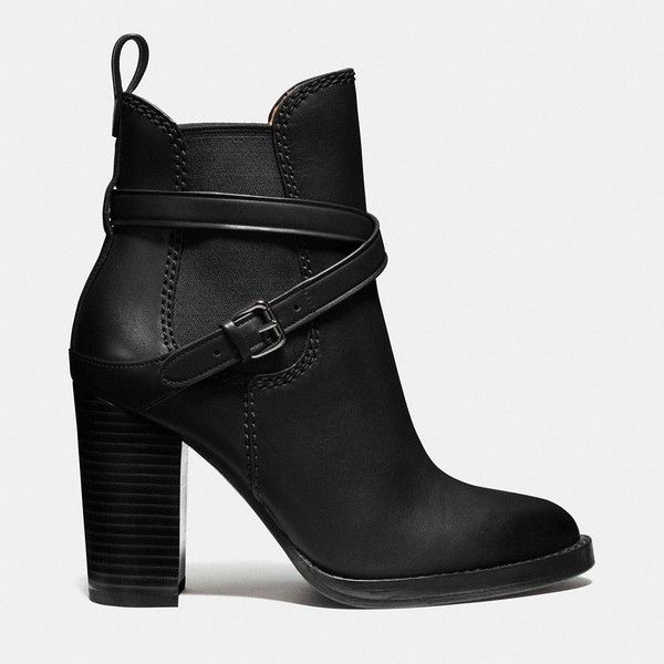 Coach Jackson Bootie (€165) ❤ liked on Polyvore featuring shoes, boots, ankle booties, botas, heels, high heel bootie, ankle boots, coach booties, leather bootie and leather booties