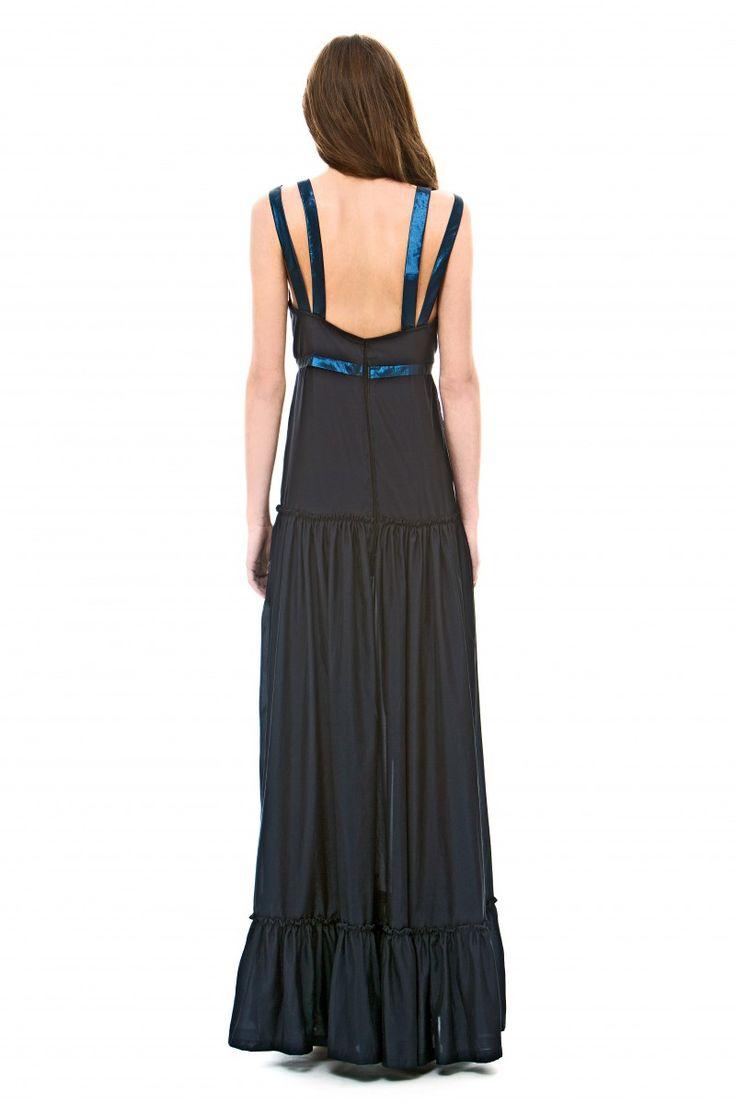 Blue double strap dress