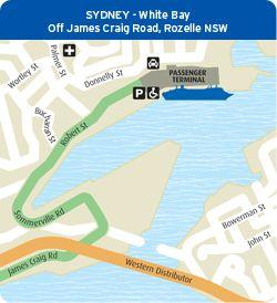Arrival and Departure Port Information: Sydney - White Bay Cruise Terminal,Access via James Craig Road at Rozelle, Sydney, NSW 2000, Australia. - Access Map: http://www.pocruises.com.au/SiteCollectionImages/Ports/cruise_terminal_enviros.JPG Map of White Bay terminal: http://www.pocruises.com.au/SiteCollectionImages/Ports/cruise_terminal_plan.JPG