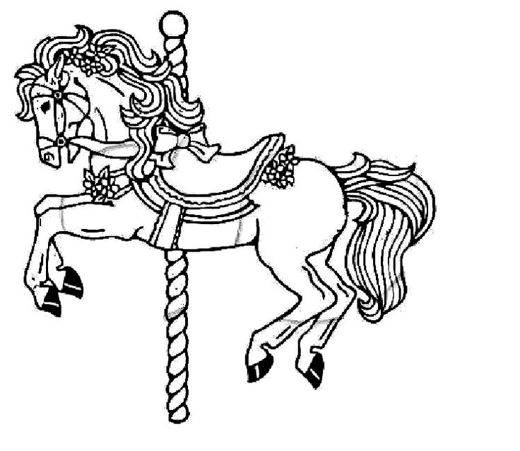 Carousel coloring pages to print coloring pages for Carousel horse coloring page