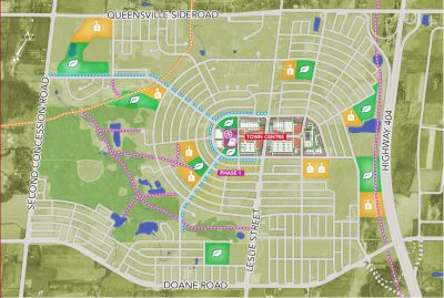 I'd like to share with you my new community map of Queensville – I'm going to be a place for you to work, play and raise your children.