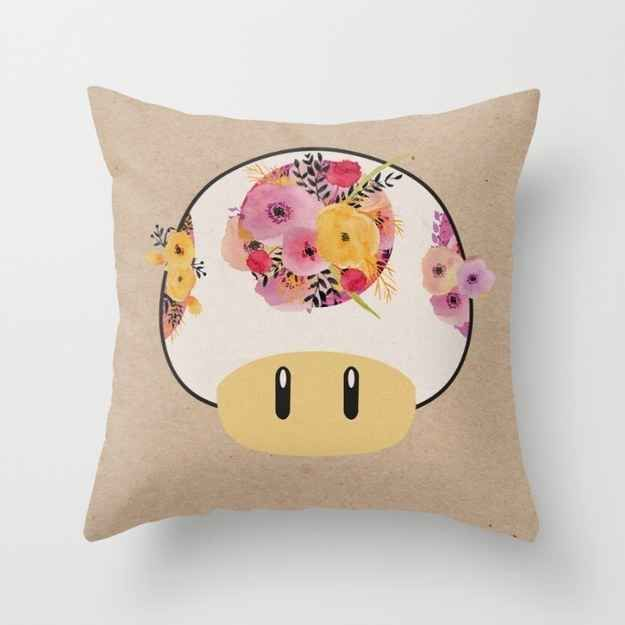 This flowery 1-Up throw pillow