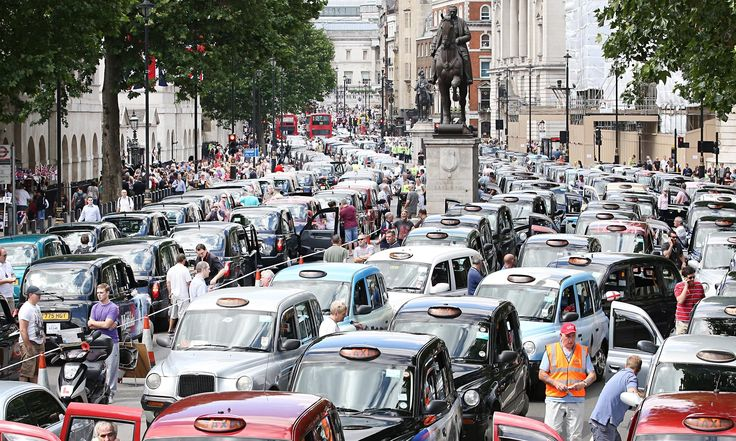 London taxi drivers in go-slow protest against Uber phone app