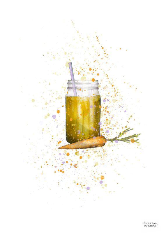 Food illustration smoothie jar kitchen prints by annmarireigstad