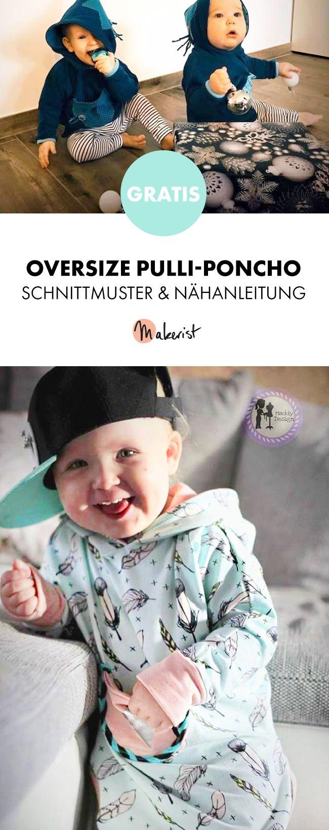 Gratis Anleitung: Pulli-Poncho nähen für Babys und Kinder - Schnittmuster und Nähanleitung via Makerist.de