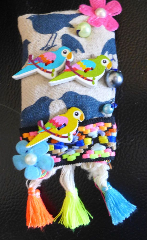 Handmade Brooch Pin Fabric Bird Beads One Of A Kind Embelishment From Artist #HandmadebyRIVKAFILIN
