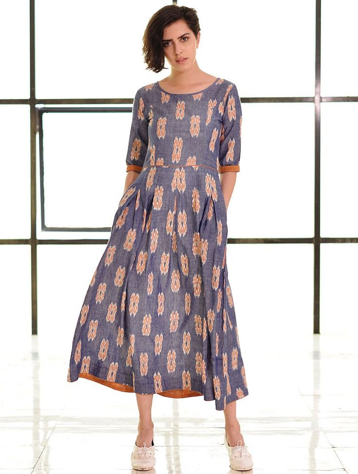 Buy Blue Orange Box Pleated Handloom Ikat Cotton Dress Apparel Tops & Dresses Online at Jaypore.com