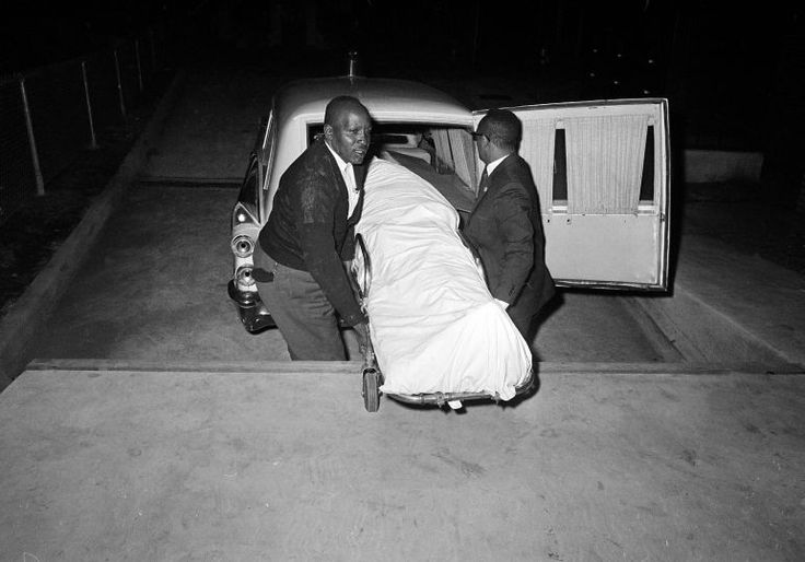 The body of Jimmie Lee Jackson, 26, is removed from a Selma, Alabama hospital Feb. 26, 1965 after he