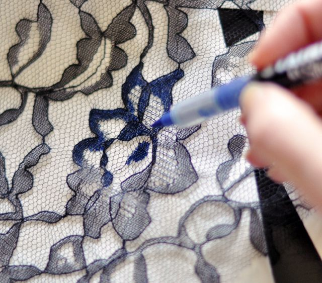 Transfer lace print design to your jeans - using Sharpie & other fabric marker pens http://www.lovemaegan.com/2012/04/floral-print-jeans-diy.html