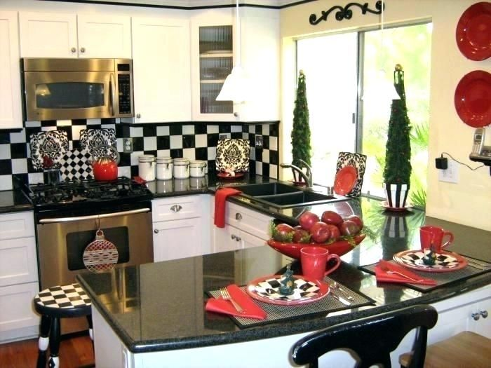 Ge Profile Kitchen With Red Walls White Cabinets And Decor Sets Wine Country Themes