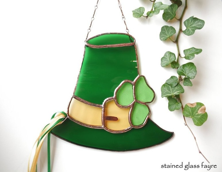A charming, and genuinely Irish, stained glass Leprechauns Hat with Shamrock Design to adorn a window or mirror.    I have handcrafted this suncatcher