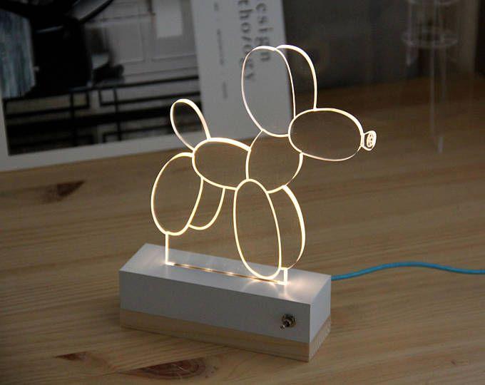 Dog balloon nightlight // lamp 3d // dog balloon // gift idea // usb // led