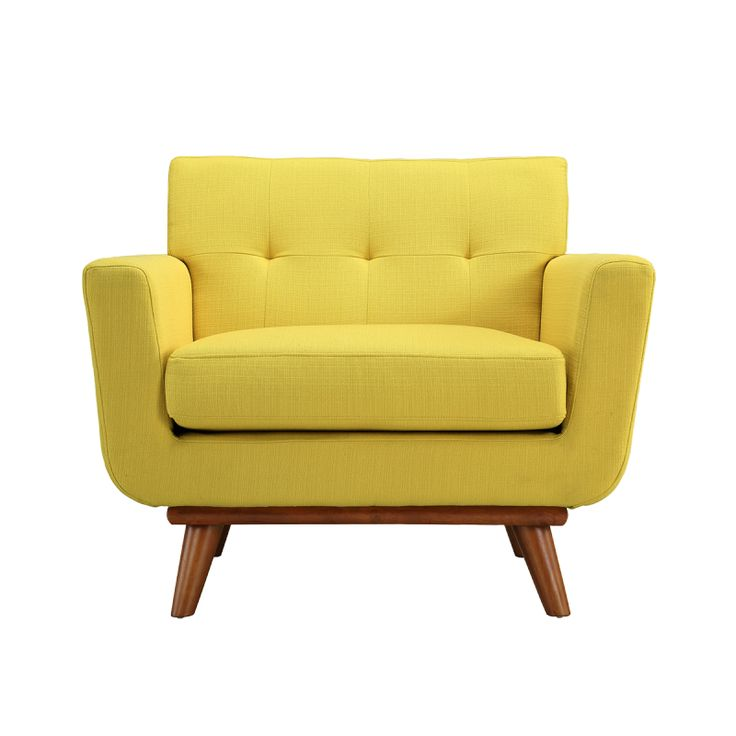 Steel | Lark // Sunny Yellow Upholstered Engage Armchair - bring it home with purehome.com