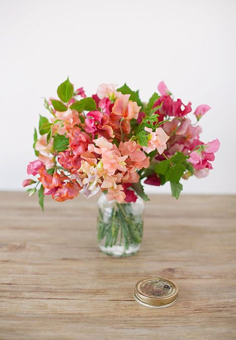 Fresh greenery + pink sweet peas = pretty and easy centerpiece