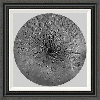 Global Gallery 'Unmarked Map of the Moon, North Pole' by United States Geological Survey Framed Grapic Art Size: