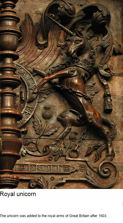 "Carved unicorn - ""The unicorn was added to the royal arms of Great Britain after…"