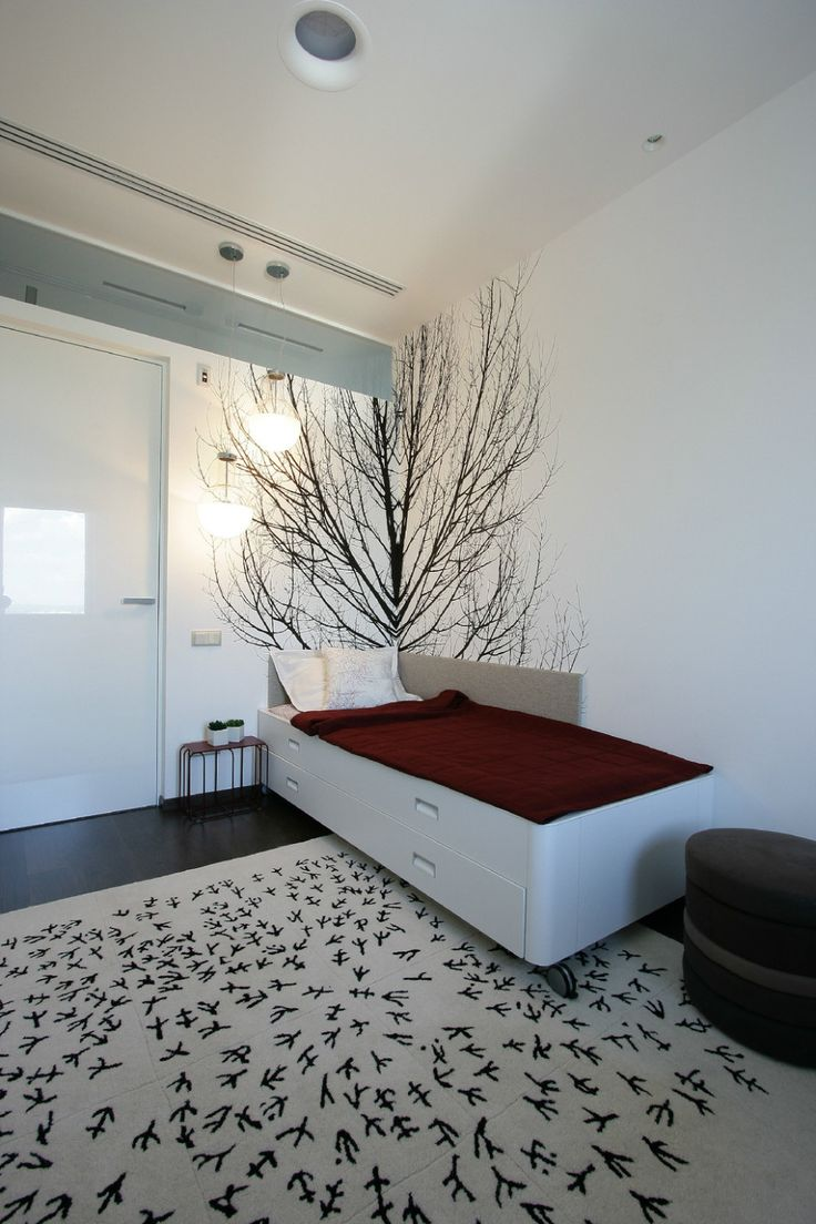 Apartments:Awesome Tree Decals For White Bedroom Interior Design Bed With Storage Maroon Bed Cover Also Plant In Pots Glass Door For Glowing White Interior Design Ideas For Modern Apartment Living Room Ideas Glowing white Interior Design Ideas for Modern Apartment Living Room Ideas
