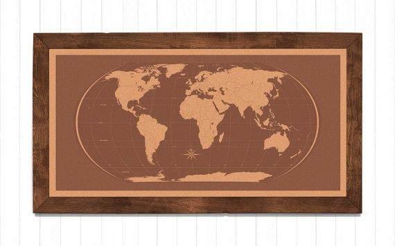 Cork World Map Pinboard by MobyMaps on Etsy.