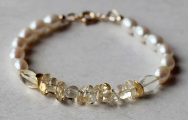 Girl's Bracelet Freshwater Rice Pearls and Citrine Gemstones with Gold Vermeil Beads. Communion Bracelet. Birthstone Bracelet by ILgemstones on Etsy
