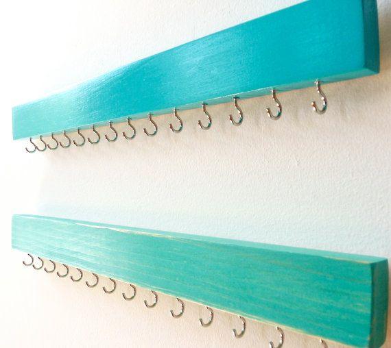 Wall Jewelry Organizer - Necklace Holder - Jewelry Organizer Wall - Wood Jewelry Holder - Turquoise- Wood Necklace Hanger - Necklace Storage