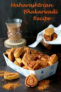 Maharashtrian Bhakarwadi Recipe to prepare bakarwadi, a fried/baked savoury snack with a spicy stuffing rolled into a dough & sliced into small pinwheels.