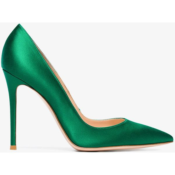 Gianvito Rossi 105 Pointy Toe Pumps (€520) ❤ liked on Polyvore featuring shoes, pumps, green, green satin shoes, green satin pumps, pointy-toe pumps, satin shoes and green stilettos