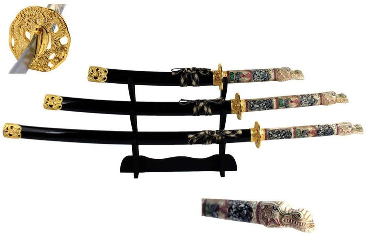 4 Piece Closed Mouth Dragon Samurai Katana Sword Set w/ Black Scabbard Home Decor. (See Item Details For Shipping Information)** by ProspectorCollection on Etsy