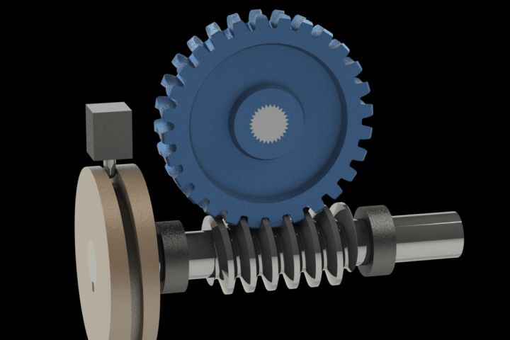 Intermittent worm wheel with cam - STEP / IGES,STL,SOLIDWORKS,Parasolid - 3D CAD model - GrabCAD