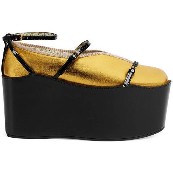 Gucci Ballet Flat With Removable Platform ($990) ❤ liked on Polyvore featuring shoes, flats, black, ballet flats, black flats, black shoes, platform flats and black skimmer