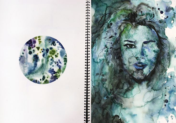 """Page from A2 sketchbook """"Under the Microscope, Beneath the Skin"""", painting in watercolour and ink"""