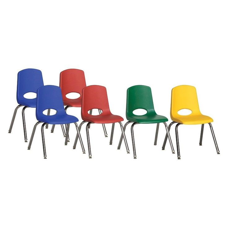 ECR4Kids Stack Chair 14 Chrome Legs Assorted Pack With Gliders, Blue