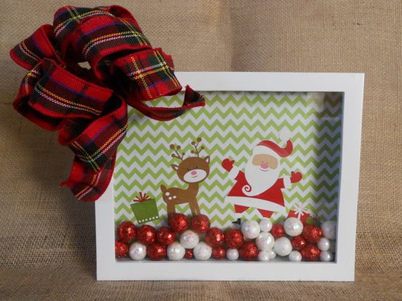 Santa and Rudolph Shadow Box - Santa Shadow Box - Christmas Shadow Box on Etsy, £12.74