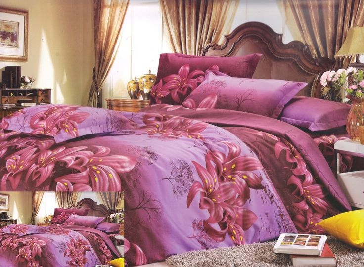 Fialové posteľné obliečky s kvetovým motívom