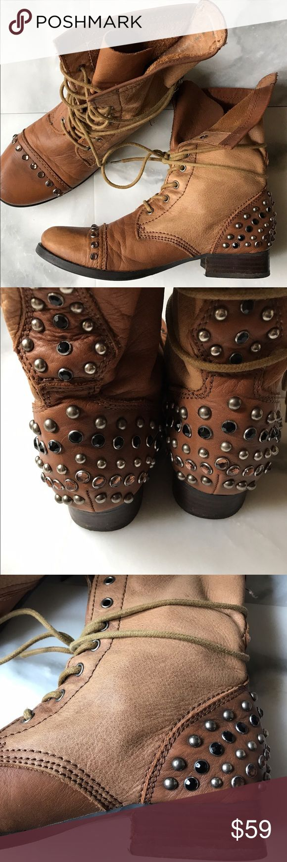 Aldo Studded Leather Motorcycle Boots Size 9 I adore these boots! Really pretty studded detail across the heel and on the toe. Soft distressed tan leather. Broken in perfectly. Great condition. Minor wear on toe and heel (looks intentional due to the distressed look!) Aldo Shoes Combat & Moto Boots