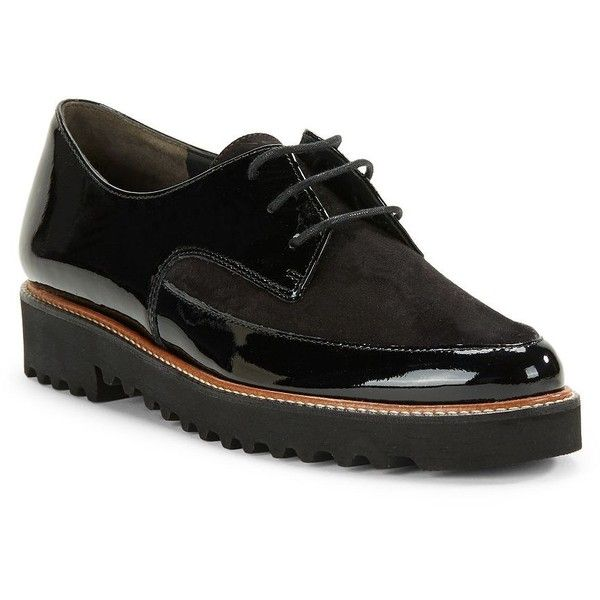 Paul Green Jonah Lace-Up Oxfords ($329) ❤ liked on Polyvore featuring shoes, oxfords, black, black platform shoes, oxford shoes, black leather oxfords, platform shoes and paul green shoes