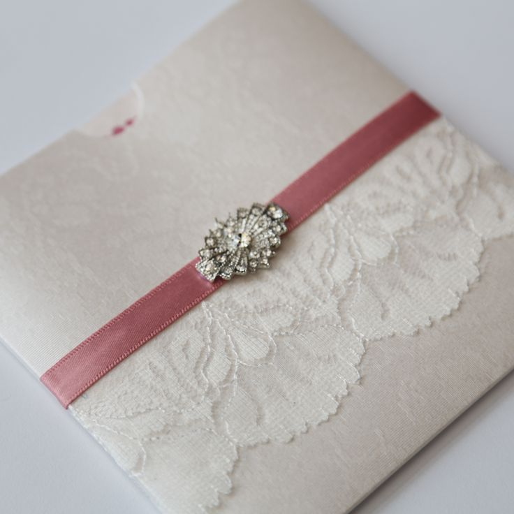 Antique Lace and Vintage Brooch Wallet Invitation