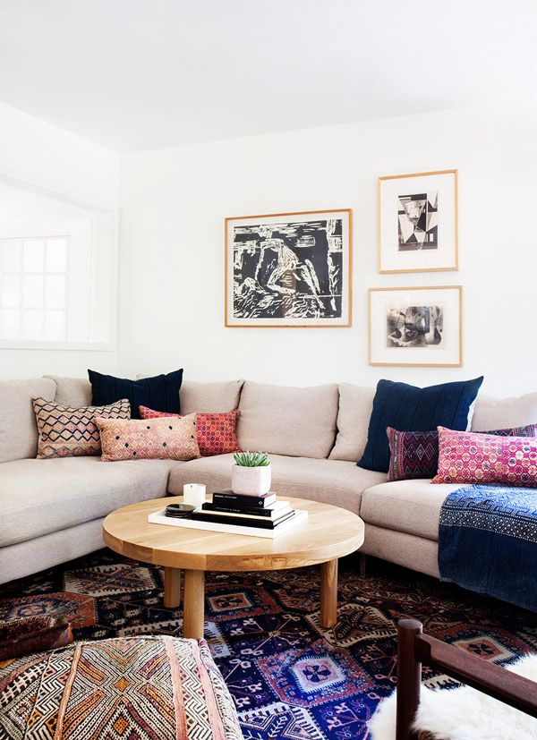 Amber Interiors through A House in the Hills. Great use of colorful and eclectic textiles.