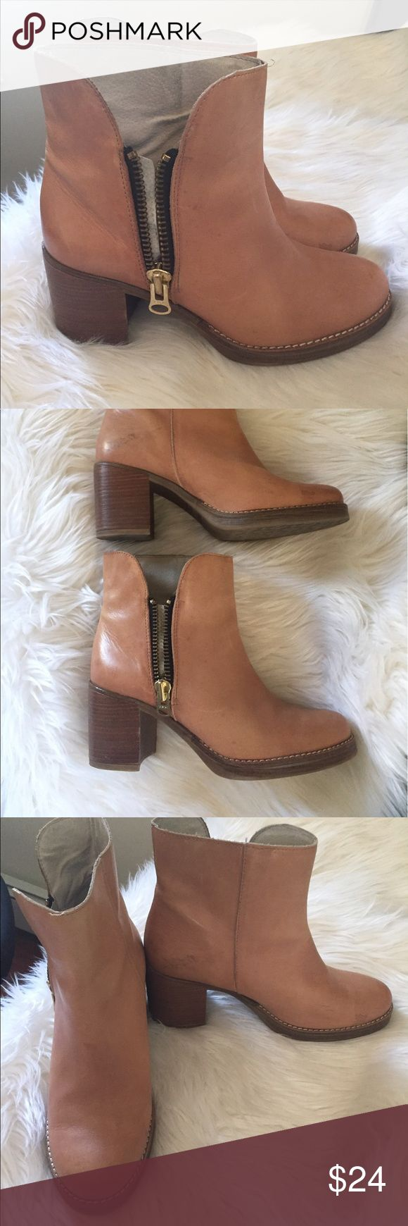 Mtng tan leather boots size 38 / 7.5 Cute vintage-style boots. Good used condition. See photos for signs of wear. Brand is Mtng sold at Lulu's. Lulu's Shoes Heeled Boots