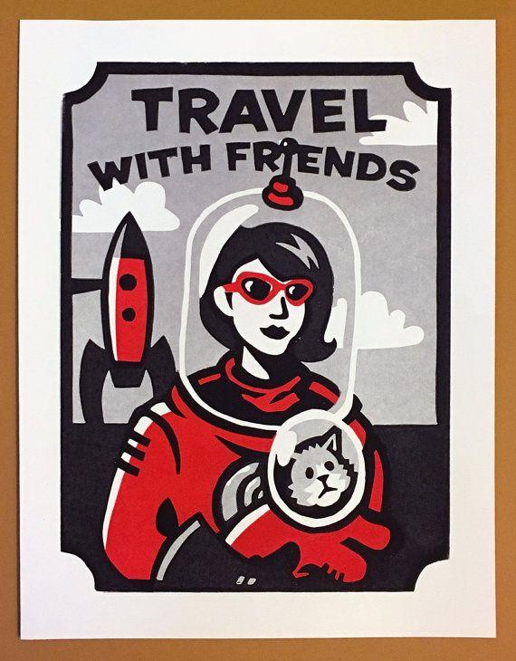Reizen met vrienden  11 x 14 Linosnede afdrukken Red & door andyrama