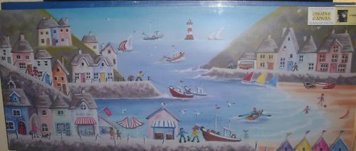 CANVAS 48 X 20 HOLIDAY PICTURE BY THE SEASIDE HARBOUR | eBay