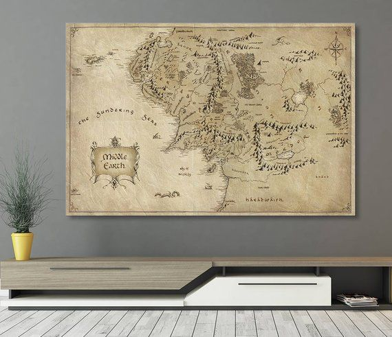 LOTR Middle Earth Map Canvas Wall Art, Tolkien Map, Home Decor