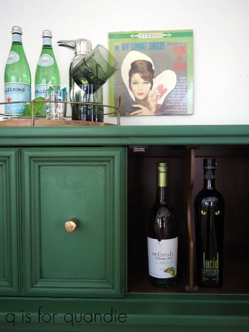 A cabinet gets revived with Park Bench  by Fusion Mineral Paint - q is the quandie