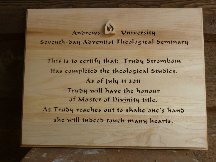 Custom plaque for a ladies graduation and becoming a Pastor------cut from hard maple with calligraphy font