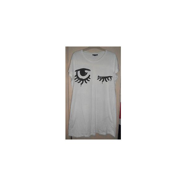 TOPSHOP Long White Tshirt with Clockwork Orange Eyes Size 12 found on Polyvore featuring polyvore, women's fashion, clothing, tops, t-shirts, long white t shirt, long tops, orange tee, long t shirts and long length shirts