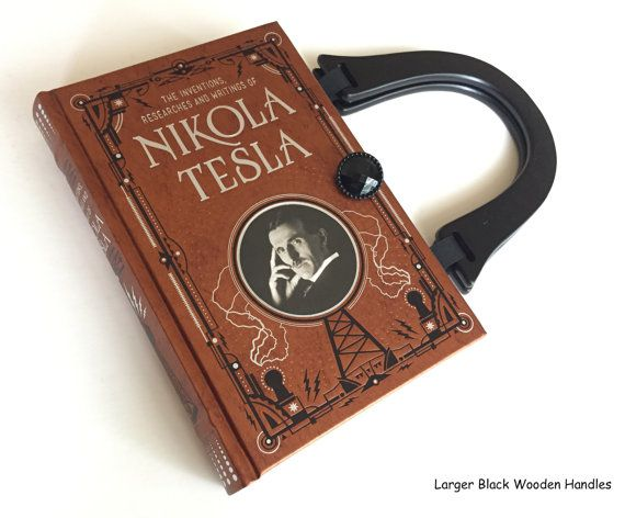 www.etsy.com/shopNovelCreations  ❖ From an actual book collection of Nikola Tesla writings, I have created a unique book cover handbag.  ❖ Silver and black embossing on a bronze leatherbound book is stunning!  ❖ Bookish gift for the budding inventor or Tesla car owner !   > > > SWIPE through and TAP ON photos to see all the selections.< < <   Fun Details:  ❖ Your purse measures 9 inches by 6 inches with 2-1/2 inch bottom of purse  ❖ Inside pages are removed and a b...