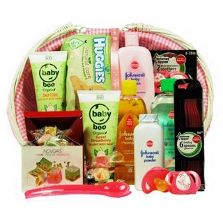 Oval Baby Basket with Lining and Handles packed with the leading baby care products.